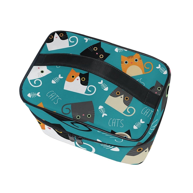 お風呂を持っている主手数料ALAZA 化粧ポーチ 猫柄 ねこ柄 化粧 メイクボックス 収納用品 ブルー 大きめ かわいい