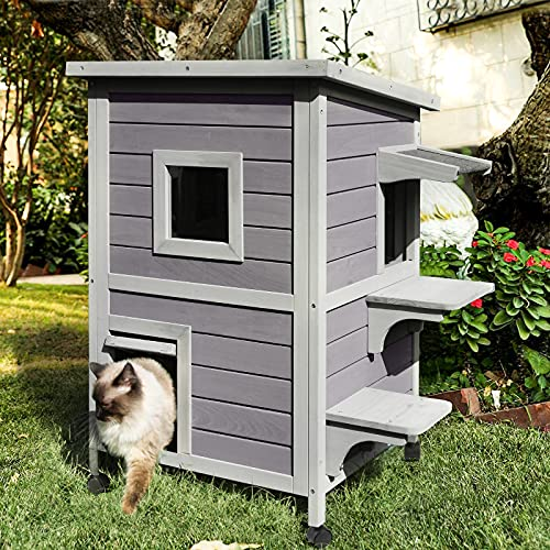 Aivituvin 2-Story Cat Cat House Outdoor, Wooden Pet Home with Balcony
