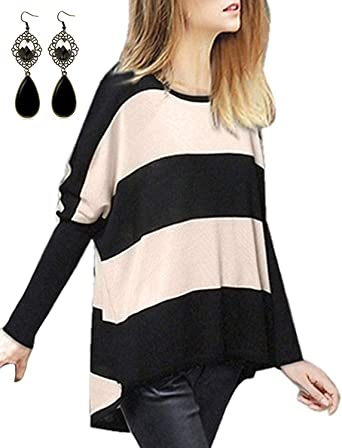 sitengle Mujer Jersey de Lana Manga del Batwing Rayas Camisa Blusa Suéter Primavera Caliente Casual Cardigan Outwear Pullover Tops