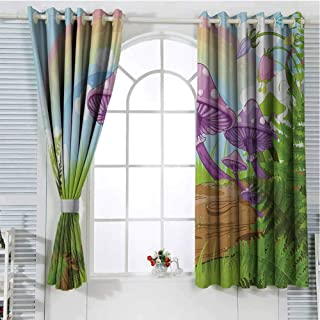 Jinguizi Mushroom Room Darkening Curtains for Bedroom Fantastic Scenery with Wood Timber Grass and Rainbow Fungus Herbs Leaves Weed Art Wall Curtain Multicolor 72 x 45 inch