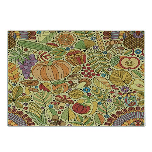 Lunarable Thanksgiving Cutting Board, Rich Pattern with Various Graphic Leaf Turkey Fruit Nut Mushroom Flowers, Decorative Tempered Glass Cutting and Serving Board, Small Size, Pastel Yellow
