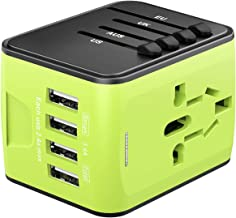Universal Travel Adapter, International Power Adapter with 4 USB, Worldwide Travel Plug Adapter for US, EU, UK, AU 180+Countries, All in One European Adapter for Cell Phone iPhone Laptop Tablet(Green)