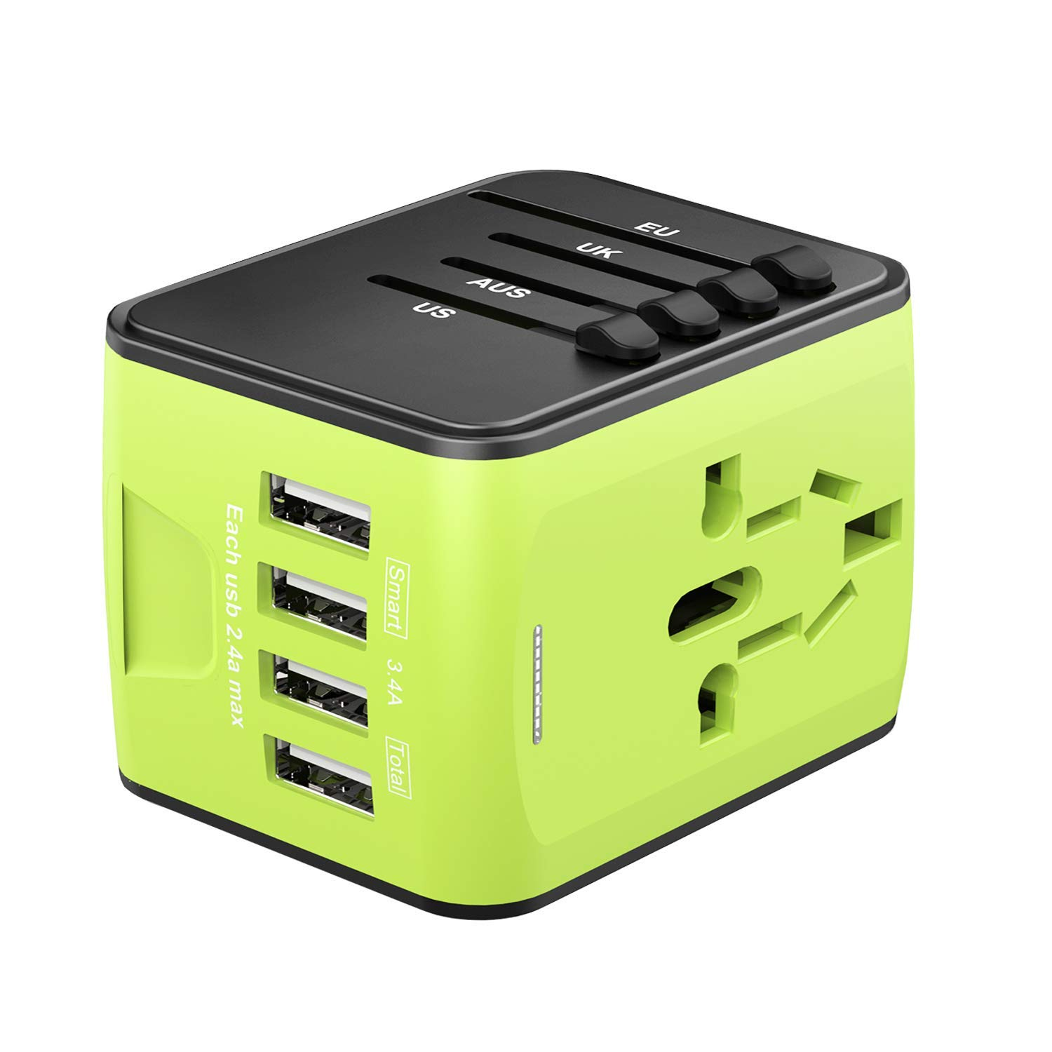 Fast 2.4A 4 USB Worldwide International Power Adapter Mini Portable Travel Charger with 4 Charging Ports for US UK EU AUS 160 Countries Universal Travel Adapter