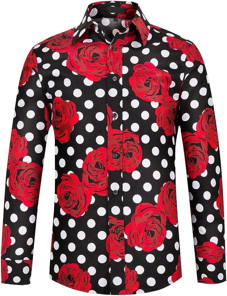 THWEI Mens Dress Shirts Polka Dots Floral Print Shirt Long Sleeve Button Down Shirt