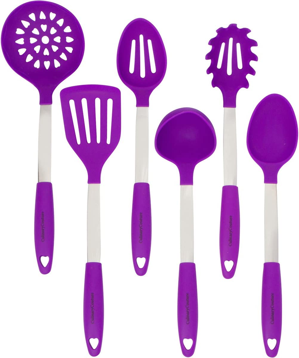 Purple Cooking security trust Utensils Set - Re Steel Stainless Silicone Heat
