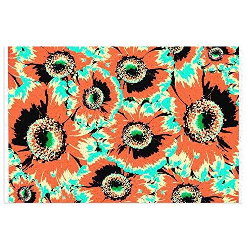 Alfombra de bienvenida con patrón de flores de gerbera, color naranja rústico, para puerta delantera, interior y exterior, de goma, antideslizante, resistente al agua, duradera, 39,7 x 59,9 cm