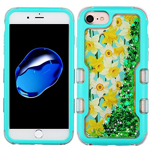 iPhone 6/6s/7/8 Case, Mybat Quicksand Glitter Spring Daffodils Dual Layer [Shock Absorbing] Protection Hybrid PC/TPU Rubber Case Cover for Apple iPhone 6/6s/7/8, Green/Teal