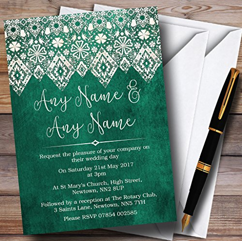 Teal Green Old Paper & Lace Effect Personalized Wedding Invitations