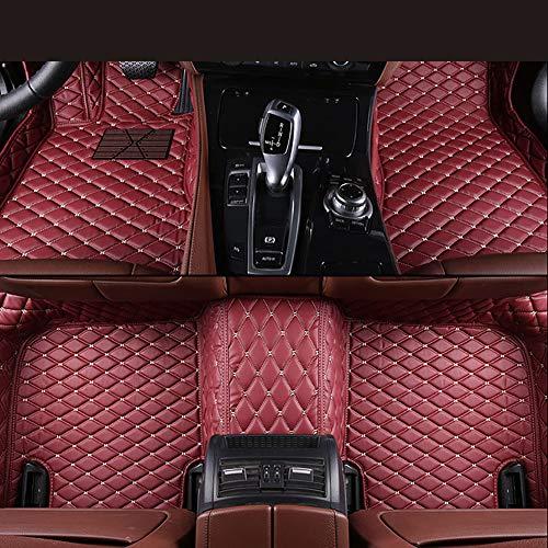 Zmkar Alfombras de Auto aptas para Maserati Quattroporte 2005-2012 Alfombras Revestimiento de Piso para Todo Clima Impermeable Antideslizante Hecho a la Medida de Cuero Artificial (Vino Rojo)