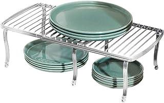 mDesign Repisa ajustable para interiores de armarios de cocina – Práctica balda extensible de metal para ampliar el espacio de guardado – Estante para platos antideslizante – plateado