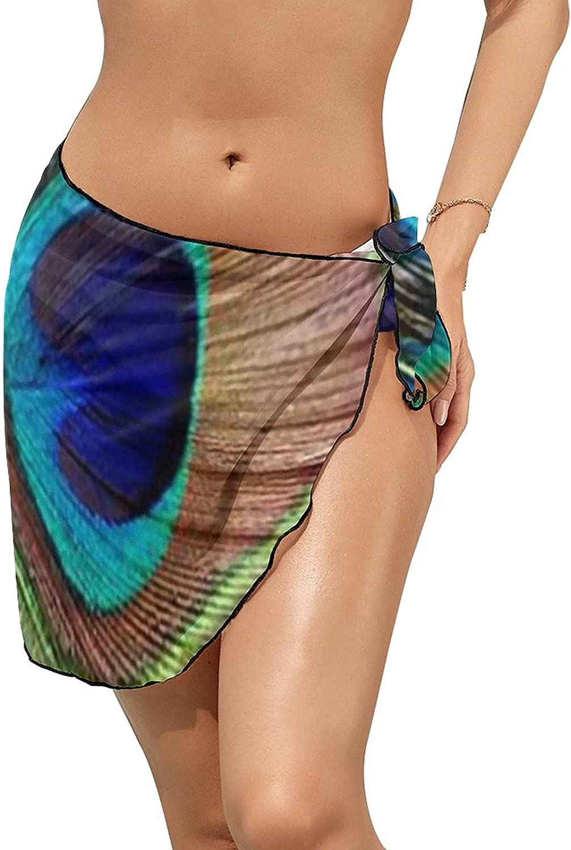 JINJUELS Women's Bikini Swimsuit Cover Up Peacock Feather Summer Beach Wrap Skirt Pareo Sarong