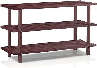 Furinno Pine Solid Wood 3-Tier Shoe Rack, Espresso