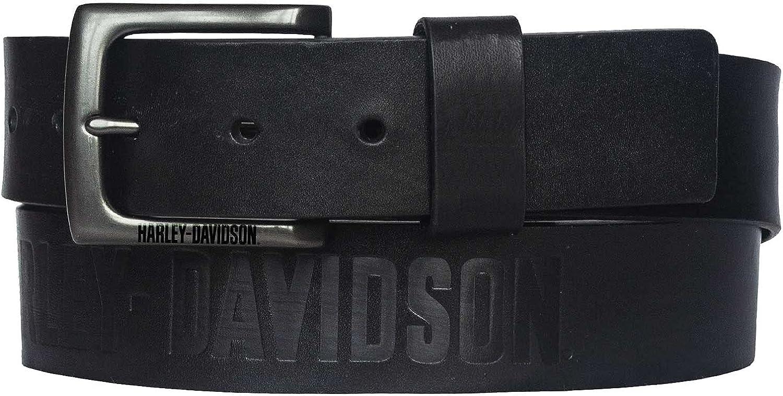 Harley-Davidson Men's Vintage Race Genuine Leather Belt - Solid Black (36)
