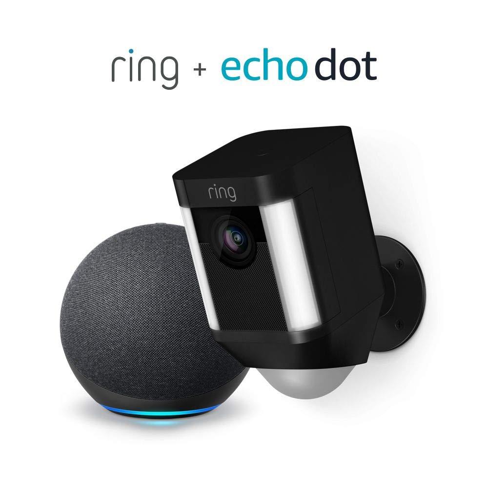 Ring Spotlight Cam Battery HD Security Camera (Black) and Echo Dot (4th Gen)