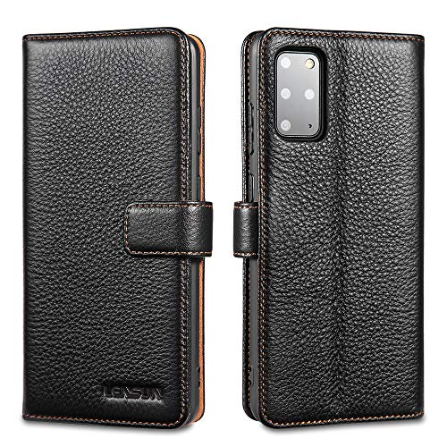 LENSUN Echtleder Hülle für Samsung Galaxy S20 Plus, Leder Handyhülle Kartenfächer Handytasche Lederhülle kompatibel mit Samsung Galaxy S20+(6,7 Zoll) – Schwarz(S20P-LG-BK)