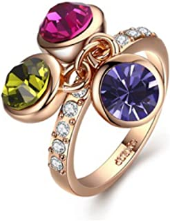 JNA Collection 18K Gold Plated Multicolor Swarovski Multicolor Three Stones Dangling Promise Eternity Love Romantic Stylis...