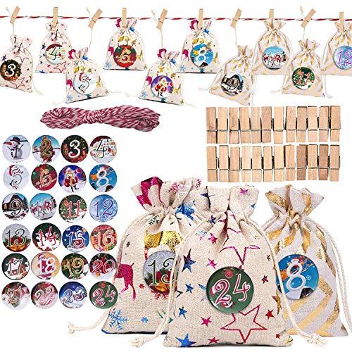 TATAFUN Calendario de Adviento, Set de 24 Bolsas de Yute para Rellenar con 24 Chapas Botón Calendario de Adviento Casero, Bolsa de Regalo Navidad Decoración (24 Pcs -3 Patrones)