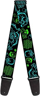 "Buckle Down Gs-Wdy125 Guitar Strap - Monsters Inc. Sully & Mike Poses/Grrrrr! Black/Turquoise/Green - 2"" Wide - 29-54"" Length"