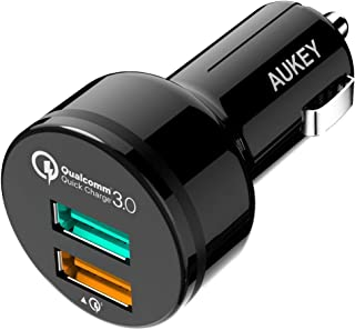 Aukey CC-T7 Dual USB Port Car Charger with Quick Charge 3.0 Technology for Smartphones and Tablets - Black