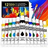 Kit de 12 Pinturas Acrílicas, Buluri Pintura Acrílica 12 ml Tubos con 3 Pinceles, Pintura Acrilica Manualidades, Pinturas Para Lienzo, Papel, Madera, Cerámica