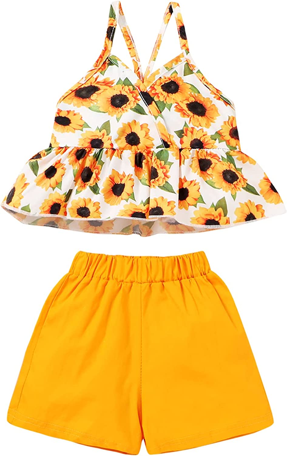 Toddler Baby Girl Summer Outfits Floral Ruffle Sleeveless Halter Shirt Kid Shorts Set for Baby Girl Beachwear 2pc Clothes