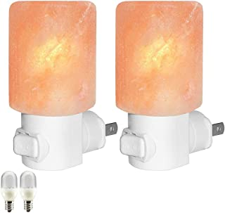 Venhoo Himalayan Salt Lamp Natural Crystal Salt Rock Glow Hand Carved Wall Plug in Night Light with 2 Incandescent Bulbs and 2 Colorful LED Bulbs for Decoration and Lighting-2 Pack