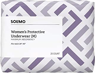 Amazon Brand - Solimo Incontinence Underwear for Women, Maximum Absorbency, Medium, 60 Count, 3 Pack
