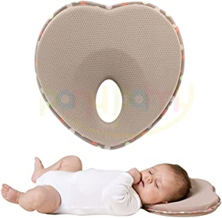 Inpay - Bebé Recién Nacido Almohada de Algodón Orgánico - Protección para el Síndrome de Cabeza Plana - Posicionador de Cabeza Soporte de Cuello - De 3 Meses a 1 Año de Edad Infante (Corazón, Caqui)
