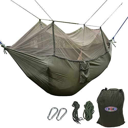 c2e3c62a992 B1ST Dual Camping Hammock with Mosquito Bug Net High Strength Nylon  Ultralight Collapsible Outdoor Parachute Army