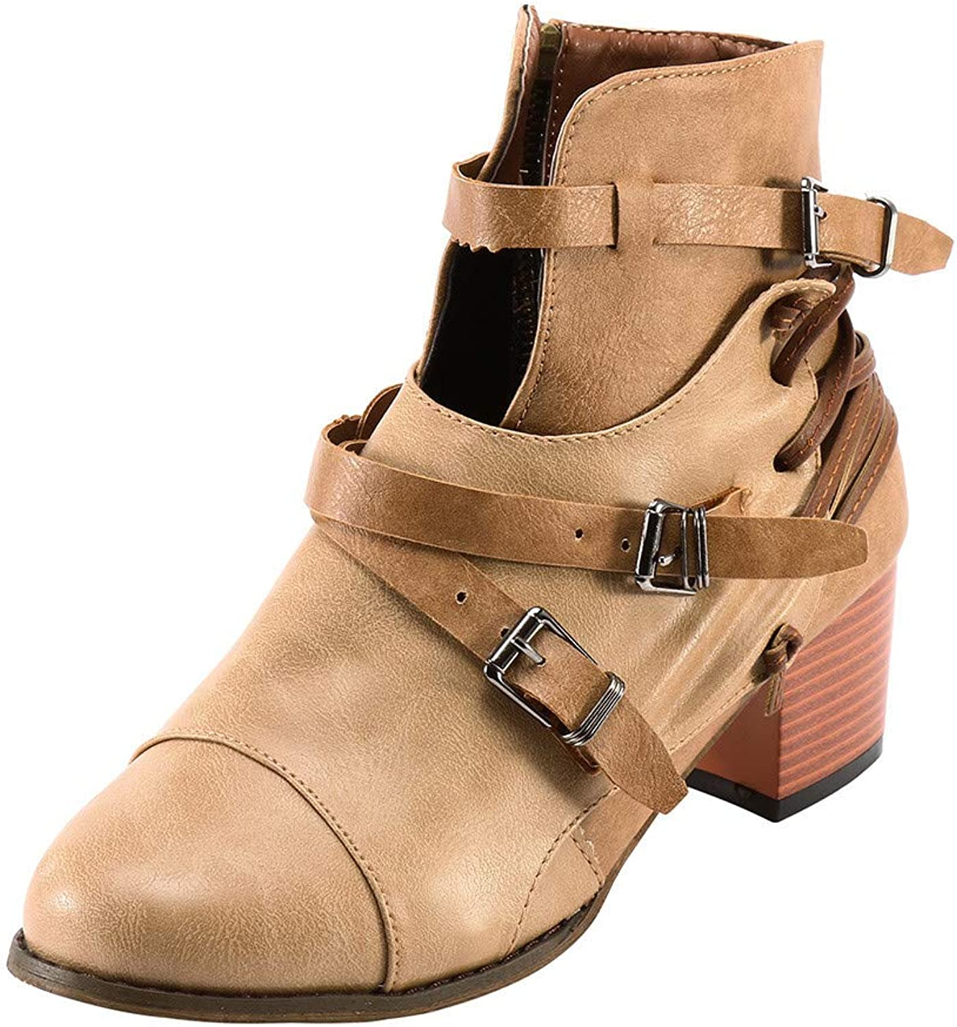 Women's Fighting Buckle Strap Side Zipper Tactical Impossible Complex Design Ankle Boots shoes
