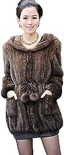 YR Lover New Women's Real Knitted Mink Fur Coat Hooder Jacket