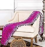 JS HOME Pink Leopard Skin Queen Size Blanket Throw Super Soft, (80'x80')