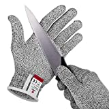 NoCry Cut Resistant Gloves with Grip Dots - High Performance Level 5 Protection, Food Grade. Size Medium, eBook Included!