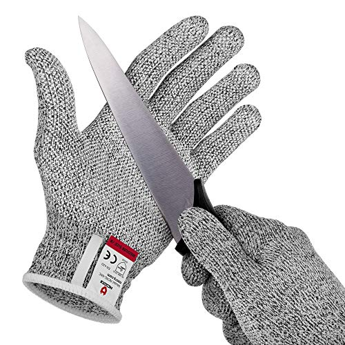 NoCry Cut Resistant Gloves with Grip Dots - High Performance Level 5 Protection, Food Grade. Size Large, Free Ebook Included!