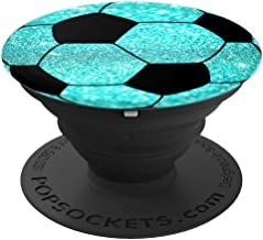 Cool Soccer Ball Design For Team Player Teal Background Pop - PopSockets Grip and Stand for Phones and Tablets