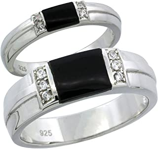 Sterling Silver Cubic Zirconia Wedding Band Ring 2-Piece Set 6.5 mm Him & Hers 3.5 mm Black Onyx, Sizes M 8-14 L 5-10