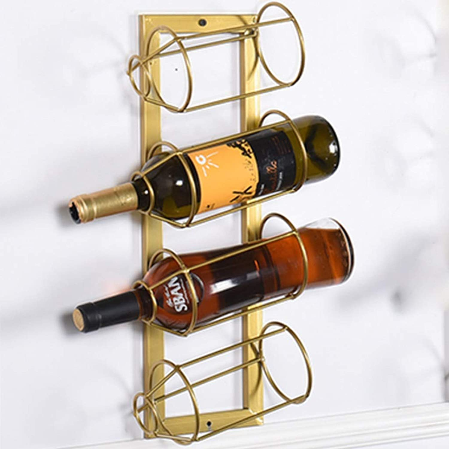 WAN SAN QIAN- golden Brilliant Iron Wall Hanging Bar Wine Cabinet Side Creative Design Wine Rack Wine Rack (Size   Four Flats)