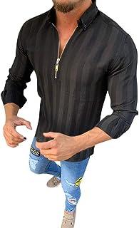 Gergeos Men's Long-Sleeve Shirts Fashion Striped Zipper Shirts Male Casual Business Fit Slim Tops T-Shirts