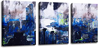 Abstract Wall Art for Bedroom Decor Modern Blue Building of Watercolor Painting Skyscraper Background Poster Canvas Prints - 3 Panels Canvas Painting for Bathroom Home Decor 12x16 inch 3pcs/Set