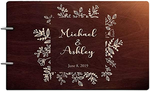 Just Customized Personalized Handmade Mr Mrs Wedding Guest Book For Bride And Groom Wood Alternative Custom Engraved Newlywed Marriage Album Chocolate Walnut