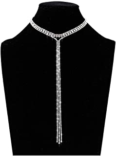 3 Row Rhinestone Choker Necklace Crystal Tassel Wide Collar Necklaces Gothic Diamond Charms for Women Girls
