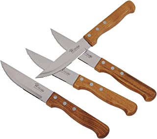 Home Pro Stainless Steel BBQ Steak Knife wooden handle Set, 4 Piece