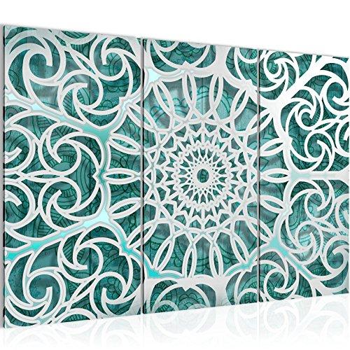 Bilder Mandala Abstrakt Wandbild 120 x 80 cm Vlies - Leinwand Bild XXL Format Wandbilder Wohnzimmer Wohnung Deko Kunstdrucke Grün 3 Teilig - MADE IN GERMANY - Fertig zum Aufhängen 109631b