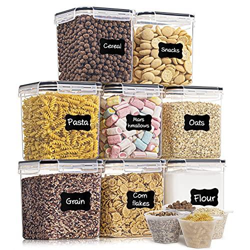 Vtopmart 2.5L Vorratsdosen 8 Set, Aufbewahrungsbox Küche Luftdicht Behälter mit Deckel, Schüttdosen Set, Vorratsbehälter zur Aufbewahrung Küche von Nudeln, Müsli, Mehl, Zucker usw (Schwarz)