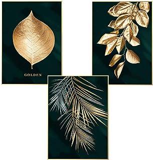 Martin Kench Lot de 3 affiches murales design avec motifs forêt, feuille dorées, palme, sans cadre, décoration murale pour...