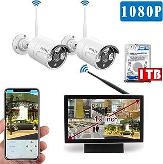 【最新wifi強化版】 10インチモニター付き ワイヤレス防犯カメラセット 2台1080P 200万画素 IP67防水防塵 モーション検知 ナイトビジョン リモート操作 OOSSXX (1TBハードディスク内蔵)