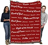 Names of God - Red - Cotton Woven Blanket Throw - Made in The USA (72x54)
