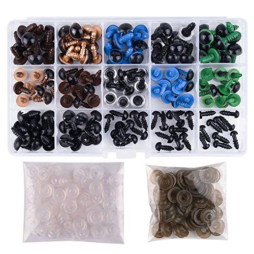 KUUQA 150 stuks 6-12 mm kleurrijke kunststof veiligheidsogen met sluitringen voor pop, marionet, pluche dier