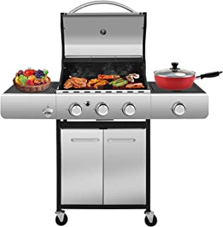 RMYHOME BBQ Liquid Propane Gas Grill Stainless Steel 34,000 BTU Patio Garden Barbecue Grill with Built in Thermometer, Rem...
