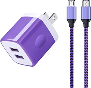 Dual Port Wall Charger + 2Pack Android Phone Charer 6FT, Sixsim 2.1A USB Plug Wall Charger Block Power Adapter Charging Cube with Nylon Braided Micro USB Cable Cord for Samsung Galaxy S7 S6 J7 J5 J3